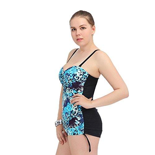 Womens Siamese Triangle Swimsuit Retro Printing Große Größe Push High Blue