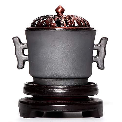QL Quemador de Incienso de cerámica eléctrico, Tiempo Quemador Aceite Esencial aromaterapia,...