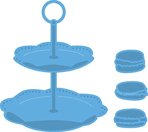 Marianne Design Creatables Tiered Tray & Macarons, Metal, Blue, 14 x 12 x 0.5 cm Metal Tray