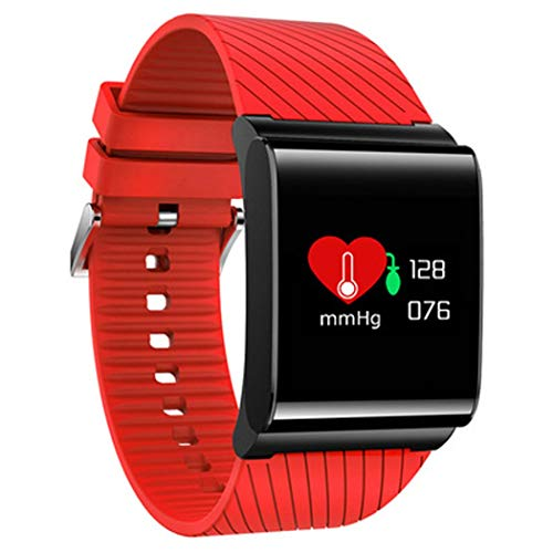 YWY Wasserdichter intelligenter Eignungs-Verfolger-Uhr-Schrittzähler für gehende Herzfrequenz-und Blutdruck-Monitor-Kalorien-Zähler-Schlaf-Monitor-Anruf/SMS-Warnung für Android (Farbe : Rot) - Kalorien Zähler-monitor