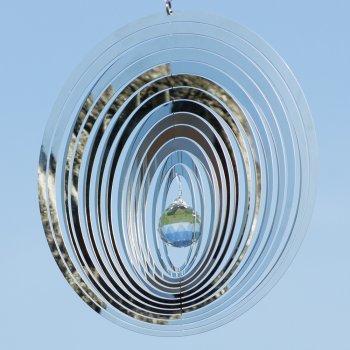 Edelstahl Windspiel – Mirror Crystal Oval – Abmessung: 20 x 20cm – mit Kristallglaskugel, Kugellagerwirbel und Haken – (Oval) - 3