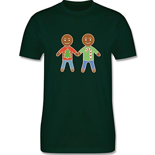 Weihnachten & Silvester - Lebkuchenmann und -mann - Herren Premium T-Shirt Dunkelgrün