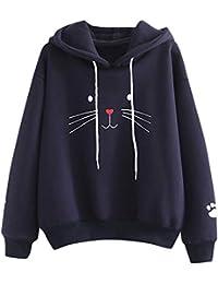 DOGZI Mujer Sudadera Moda Casual Manga Larga suéter Huella Animal Casual Camisa de Entrenamiento Saltador Pull