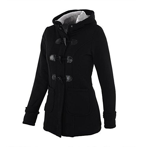iBaste Winter Mantel Parka Jacke Dufflecoat Zipper mit Kapuze Große Größen  Schwarz 32a80a66c6