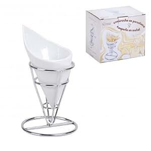 Casaprice - Cornets de presentation pour frites en porcelaine + son support en inox - vendu par lot de 2 -