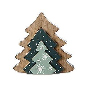 Tanne 3tlg. | Weihnachtsdeko 19cm aus Holz | Deko-Figur | Handarbeit | Weihnachten Figur Dekoration