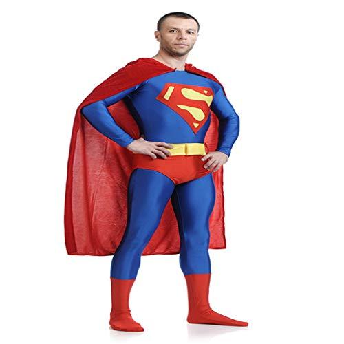 QWEASZER Justice League, Superman Kostüm Erwachsene Männer Frauen Zentai Kleidung Halloween Lycra Elastische Strumpfhosen Movie Stage Requisiten,Red Superman-XXXL (Zentai Kostüm Superman)