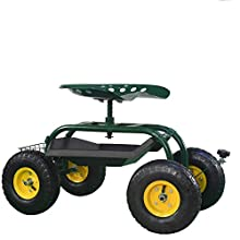 PRO-CARTS Rolling Garden Seat Work Seat Cart With Tray Tool Work Scooter Garden Cart