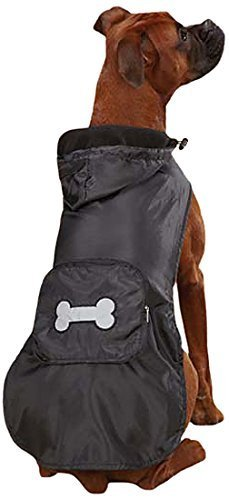 Casual Canine Fleece Lined Stowaway Rain Jacket, Small/Medium, Black by Leynas Pup Palace, LLC