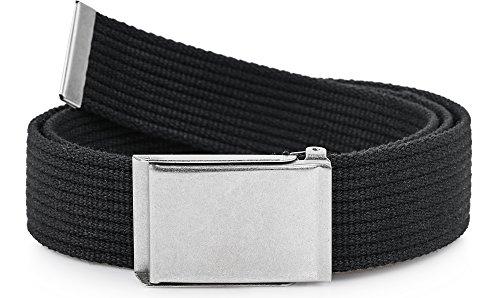 Ladeheid Herren Gürtel Stoffgürtel P10(Schwarz-Silber, 120 cm (Gesamtlänge 130 cm)) (Gürtel Für Silber Männer)