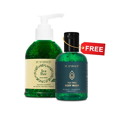 ST. D'VENCE Essential Tea Tree Oil and Neem Face Wash 150ml (with FREE Tea Tree Body Wash 100ml worth ₹199)