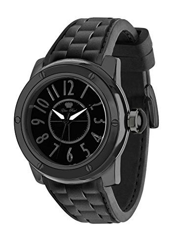 Glam Rock Watches Unisex Quartz Watch with Black Dial Analogue Display and Black Rubber Strap 0.96.2629