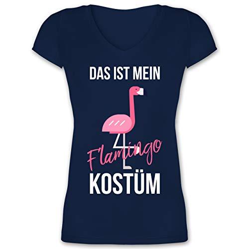 (Karneval & Fasching - Das ist Mein Flamingo Kostüm - XL - Dunkelblau - XO1525 - Damen T-Shirt mit V-Ausschnitt)