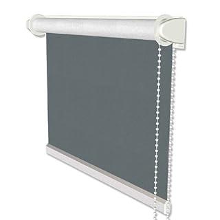 Interdeco Verdunkelungsrollos / Thermo-Rollo Taubenblau (Blau-Grau) BxH 71 x 215 cm ohne Bohren (Klemmfix-Rollo) für Balkontüren mit Seitenzugrollo mit Silberbeschichtung