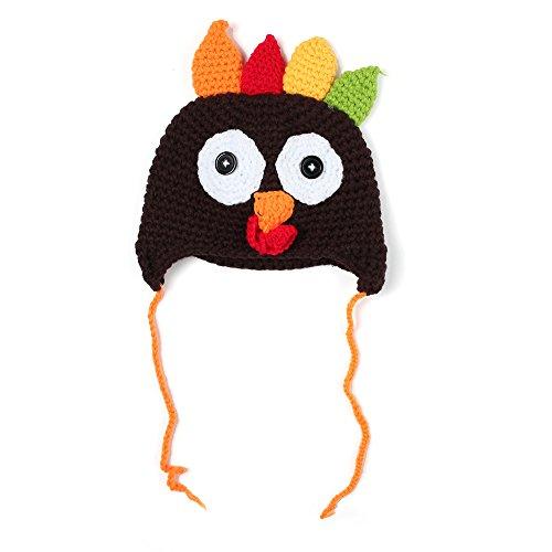 Eastlion Baby Danksagungs Türkei Kappen handgestricktes Hut Geschenk der Kinder, Kaffee Größe M