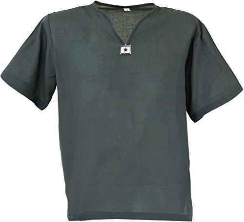 Guru-Shop Yoga Hemd, Goa Hemd, Kurzarm, Männerhemd, Baumwollhemd, Herren, Grau, Baumwolle, Size:XXL, Männerhemden Alternative Bekleidung