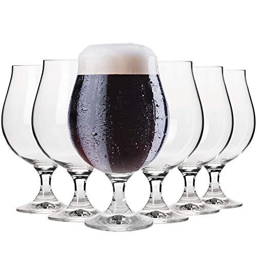 Krosno Oscura Copas de Cerveza | Conjunto 6 Piezas | 500 ML | Elite Collection Uso en Casa, Restaurante y en Fiestas | Apto para Microondas y Lavavajillas