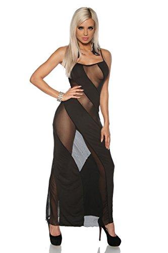 Robe longue semi-transparente Taille unique (XS-M) Noir Noir - Noir