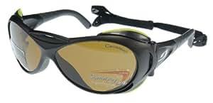 Julbo Explorer Lunettes de Soleil Robuste avec Coques (amovibles), Grand Taille, Monture Couleur Noir - Antibuée Verre Polarisant Photochromique Cameleon