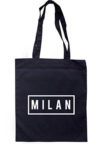 breadandbutterthreads Milan scatola borsa 37,5cm x 42cm con manici lunghi Navy
