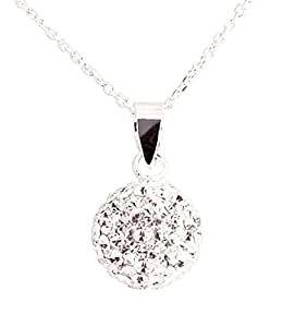 "PROMOTIONAL PRICE. Ltd Time Only. Sterling Silver 925, Diamond Chip Effect, Clear 10MM crystal ball necklace on quality 18"" cable chain. Swarovski crystals."