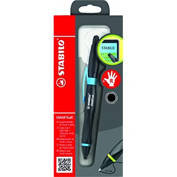 STABILO SMARTball Right Handed Black Ink Ballpoint Pen with Touch Screen Function - Black/ Cyan Blue