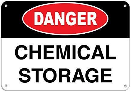Kysd43Mill Panneau de Danger pour Le Stockage de Produits Chimiques Panneau de Danger en métal en Aluminium Panneau d'avertissement pour décoration d'intérieur 20,3 x 30,5 cm