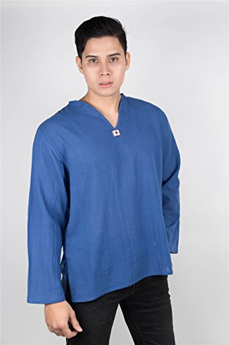 Lofbaz T-Shirt Uomo collo a V 100% Cotone Tailandese con Top Spiaggia Long Sleeve Blu scuro
