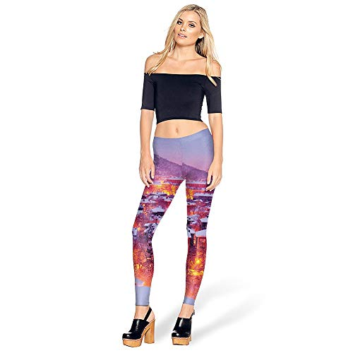 KUDALL Strumpfhosen Leggings Fitness Yoga Hosen Sport Stretch Schlank Leggings Rosa Iglu Landschaft Kreative Persönlichkeit Digitaldruck Hohe Taille Hüften Trouse, ()