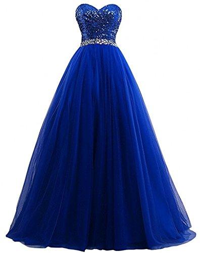 Victory Bridal Belieling Pailletten Gold Damen Abendkleider Ballkleider  Heimkehr Partykleider Lang Royal Blau