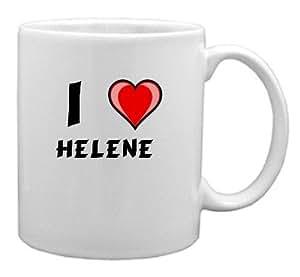 Keramische Tasse mit Aufschrift Ich liebe Helene (Vorname/Zuname/Spitzname)