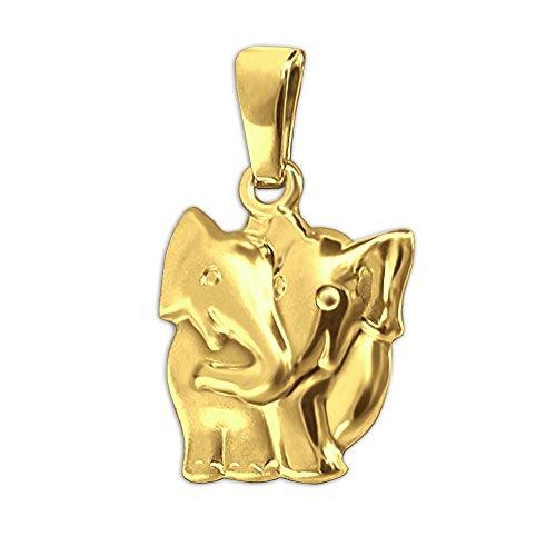 CLEVER SCHMUCK Goldener Damen Anhänger Elefant als Paar 15 mm seidenmatt und glänzend 333 Gold 8 Karat