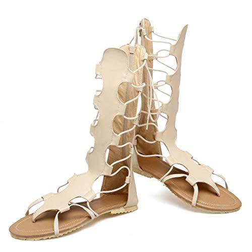 Frauen Gladiator Caged schnüren Sich Oben Flache Sandelholze höhlen heraus zurück Reißverschluss-Zapfen-Flipflops-Sommer-Strand-Schuhe aus (Caged Keil Sandalen)
