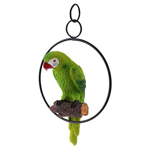 MagiDeal Hängende Zaun Papagei auf Ständer Dekofigur Wanddeko Vogel Figur Ornament - Grün (Grün Papagei)