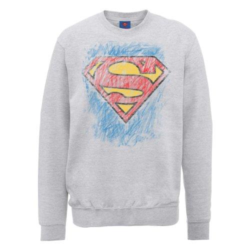 DC Comics Herren, Sweatshirt, DC0000846 Official Superman Crayon Logo Grau Meliert