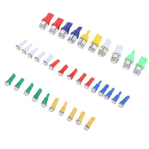 perfk 40 Pcs T5 + T10 LED Tableau De Bord Jauge Ampoule