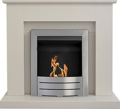 Adam Fareham Fireplace Suite in Stone Effect with Colorado Bio Ethanol Fire in Brushed Steel 39 Inch