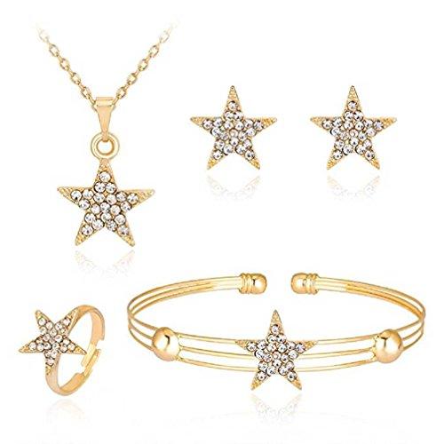 Liquidazione offerte, fittingran liquidazione offerte 4 pezzi gioielli set donne personalità strass collana bracciale anello orecchini gioielli regalo romantico (g)