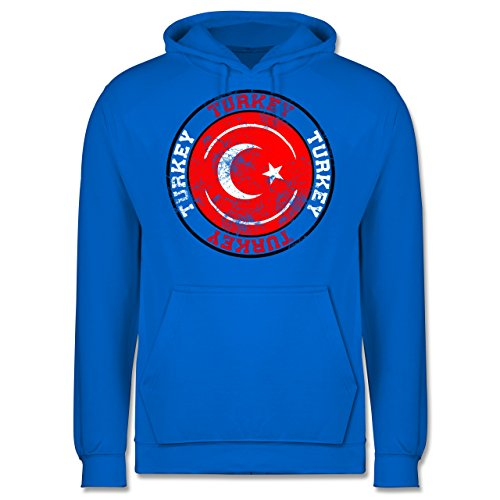 EM 2016 - Frankreich - Turkey Kreis & Fußball Vintage - Männer Premium Kapuzenpullover / Hoodie Himmelblau