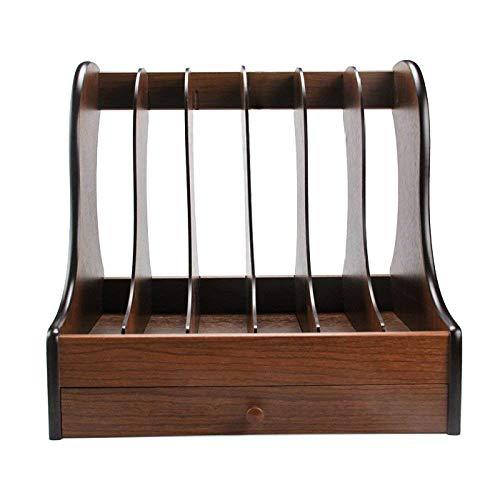Willesego Bücherregal von Ordnern Aufbewahrungsboxen Aktenhüllen Sechs-Spalten-Holz Schubladenregale Dokument-Boxen Speicher-Organizer, WoodColor (Farbe : Woodcolor, Größe : -)