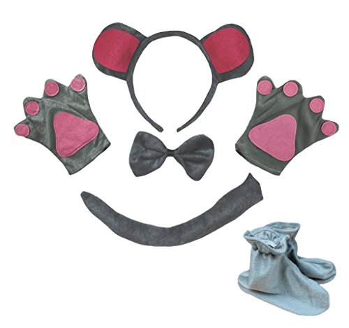 Kostüm Tail Bear - Petitebelle Gray Grizzly Headband Bowtie Tail Gloves Shoes 5pc Children Costume (One Size)