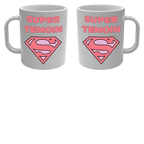 Yonacrea - Mug Tasse - Super Témoin - Rose