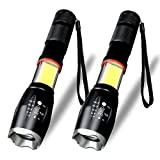 Karrong Flashlight,Led Torch Light Zoom 6 Mode for Outdoor 2 Package