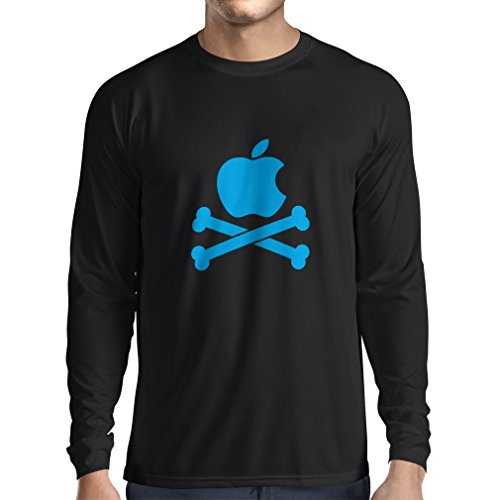 N4269L T-Shirt mit Langen Ärmeln Lustiger Apfel und Knochen (X-Large Schwarz Blau) (Ipod Nano 6th Gen Schwarz)