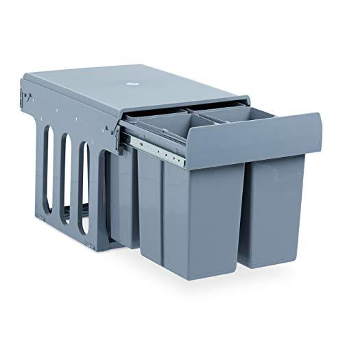 Relaxdays Einbaumülleimer Küche, Auszug, Müllsystem Unterschrank, Kunststoff, 4x je 8 Liter, HBT: 35 x 34 x 48 cm, grau