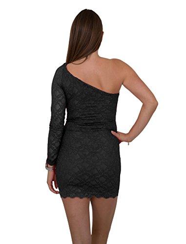 Sexy Designer One Shoulder Minikleid Asymmetrisches Abend-Kleid Dress mit Spitze in verschiedenen Farben Schwarz