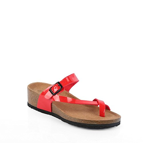 Ideal Shoes–sandali ortopedici Kahina Rosso
