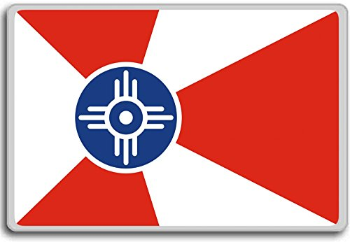 Usa, Kansas, Wichita City flag fridge magnet - Kühlschrankmagnet -