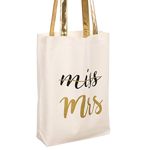 White Canvas Tote Bag (Ling's moment Wedding Miss to Mrs Canvas Tote Bag with Gold Bride and Gold Leather Handles - 100% Cotton,Gold Leather Handles, Interior Pocket - For Women's Wedding Favors,Bridal Shower Gifts)