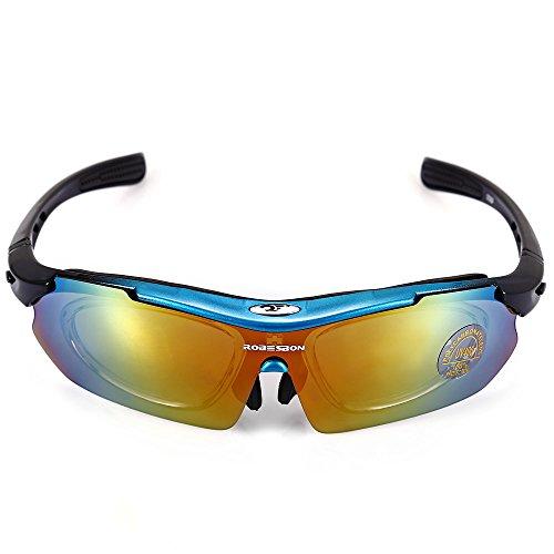 Shuzhen,Robesbon 0089 Uomo Ciclismo Occhiali Outdoor Occhiali da Ciclismo Bicicletta UV400 Sport Occhiali da Sole 5 Lenti Selezione(Color:Blu)